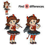 Find differences, Devil girl. Find differences, education game for children, Devil girl Stock Photos