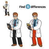 Find differences, Doctor. Find differences, education game for children, Doctor Royalty Free Stock Photography