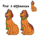 Find differences (dog). Game for children: Find 3 differences (dog Stock Images