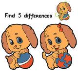 Find differences (dog). Game for children: Find 5 differences (dog Stock Photography