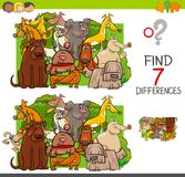 Find differences with dogs animal characters. Cartoon Illustration of Finding Seven Differences Between Pictures Educational Activity Game for Children with Dogs Stock Images