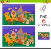 Find the differences with dogs cartoon characters. Cartoon Illustration of Find the Differences between two Pictures Educational Game for Children with Dogs Stock Photo