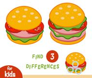 Find differences education game, Burger. Find differences education game for children, Burger Stock Images