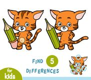 Find differences, education game, Cat and pencil. Find differences, education game for children, Cat and pencil Stock Photos