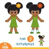 Find differences, African American girl. Find differences, education game for children, African American girl Stock Image