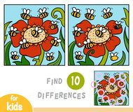 Find differences education game, bees. Find differences education game for children, bees royalty free illustration
