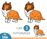 Find differences, education game, Collie. Find differences education game for children, Collie Stock Photo