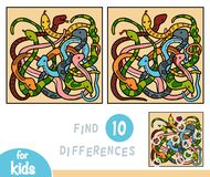 Find differences, game for children, Eight snakes. Find differences, education game for children, Eight snakes vector illustration