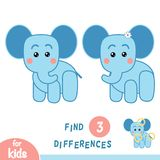Find differences, Elephant. Find differences, education game for children, Elephant Royalty Free Stock Image
