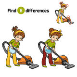 Find differences for children, girl with vacuum cleaner. Find differences, education game for children, girl with vacuum cleaner Royalty Free Stock Images