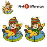 Find differences, Happy girl riding on the tubing. Find differences, education game for children, Happy girl riding on the tubing, inflatable sled Stock Photo