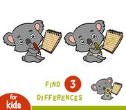 Find differences, education game, Koala and notebook. Find differences, education game for children, Koala and notebook Stock Images