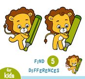 Find differences, education game, Lion. Find differences, education game for children, Lion vector illustration