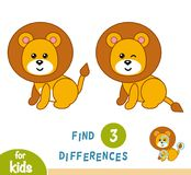 Find differences, Lion. Find differences, education game for children, Lion Stock Photo