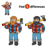 Find differences, Lumberjack. Find differences, education game for children, Lumberjack vector illustration