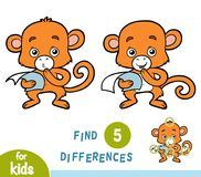 Find differences, education game, Monkey. Find differences, education game for children, Monkey Royalty Free Stock Photo