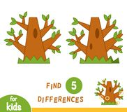 Find differences, education game, Oak. Find differences, education game for children, Oak stock illustration