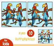 Find differences, education game for children, Parrots. Ara vector illustration
