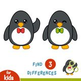 Find differences, Penguin. Find differences, education game for children, Penguin Stock Photos