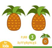 Find differences, game for children, Pineapple Stock Image