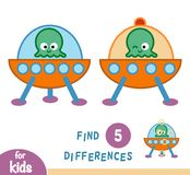 Find differences, game for children, UFO. Find differences, education game for children, UFO Royalty Free Stock Photography