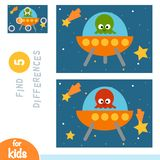 Find differences, education game, UFO in space. Find differences, education game for children, UFO in space stock illustration