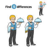 Find differences, Waiter. Find differences, education game for children, Waiter Stock Image