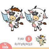 Find differences, education game, Cow. Find differences, education game for children, Cow Stock Photos