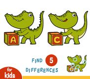 Find differences, education game, Crocodile. Find differences, education game for children, Crocodile Stock Photos