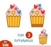 Find differences education game, Cupcake. Find differences education game for children, Cupcake stock illustration