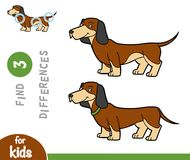 Find differences, education game, Dachshund. Find differences education game for children, Dachshund Stock Photo