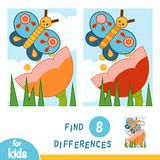 Find differences, education game. Flower meadow. The butterfly and flower. Find differences, education game for children. Flower meadow. The butterfly and flower stock illustration