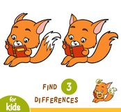 Find differences, education game, Fox and a book. Find differences, education game for children, Fox and a book stock illustration