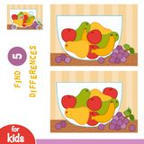 Find differences, education game, Fruit bowl. Find differences, education game for children, Fruit bowl royalty free illustration