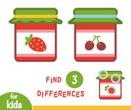 Find differences education game, Jam-jar. Find differences education game for children, Jam-jar Royalty Free Stock Photos