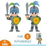 Find differences, education game, Knight. Find differences, education game for children, Knight Stock Image