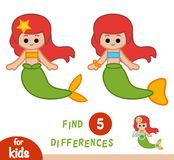 Find differences, education game, Mermaid. Find differences, education game for children, Mermaid Stock Image