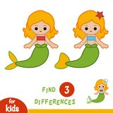 Find differences, education game, Mermaid. Find differences, education game for children, Mermaid Stock Photo