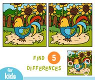 Find differences education game, One rooster. Find differences education game for children, One rooster vector illustration
