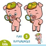 Find differences, education game, Pig and magnifier. Find differences, education game for children, Pig and magnifier Stock Images