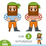 Find differences, education game, Pirate. Find differences, education game for children, Pirate Stock Photos