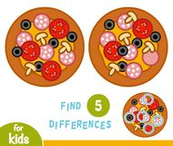 Find differences, education game, Pizza. Find differences, education game for children, Pizza stock illustration