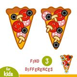 Find differences, education game, Pizza. Find differences, education game for children, Pizza Royalty Free Stock Photos