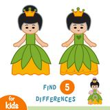 Find differences, education game, Princess. Find differences, education game for children, Princess stock illustration