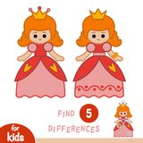 Find differences, education game, Princess. Find differences, education game for children, Princess Stock Images