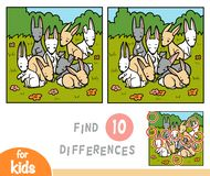 Find differences education game, rabbits