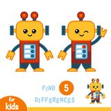 Find differences, education game, Robot. Find differences, education game for children, Robot vector illustration