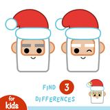 Find differences, education game, Santa Claus. Find differences, education game for children, Santa Claus Stock Photography