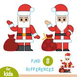 Find differences, education game, Santa Claus. Find differences, education game for children, Santa Claus Stock Photos