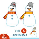 Find differences, education game, Snowman. Find differences, education game for children, Snowman Stock Image
